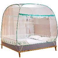 南极人(Nanjiren) 免安装可折叠拉链蚊帐三开门坐床式宫廷蚊帐蒙古包 浅绿  1.8米床