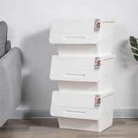 百草园收纳箱 前侧开口翻盖整理箱可叠加收纳盒加厚储物箱 白色3个装