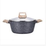 卡罗特 CaROTE麦饭石汤锅蒸锅不沾炖锅家用煮锅焖烧煮肉锅燃气电磁炉适用20cm