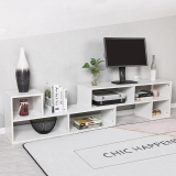 美达斯 电视柜茶几组合现代简约客厅小户型地柜电视机柜可伸缩1.4-1.9米 白色13125