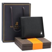 稻草人(mexican)钱包男士时尚商务男头层牛皮横款短款钱夹送礼盒礼品MLH010-01