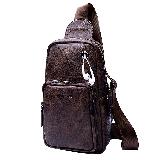 稻草人(MEXICAN)男士胸包复古单肩斜挎包潮流旅行小背包日韩休闲胸前包MMD90015M-01棕色