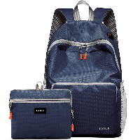 高尔夫GOLF双肩包可折叠电脑背包书包14英寸大容量防泼水轻便收纳携带户外旅行包 深蓝色