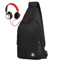 SWISSGEAR胸包 男士商务单肩斜挎包旅行休闲男小包9.7英寸iPad 时尚防泼水运动背腰包SA-9393IIImini黑色