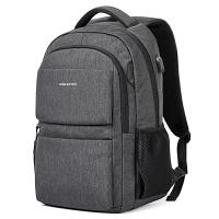 波斯丹顿双肩包男士商务休闲潮流帆布学生运动书包大容量旅行背包15.6英寸笔记本电脑包 男 B6174141深灰色