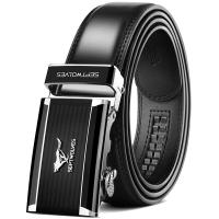 七匹狼男士皮带 时尚商务牛皮中青年腰带自动扣休闲裤带 WA20103J 黑色 (110-125cm)