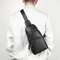 稻草人(MEXICAN)男士胸包休闲运动单肩包潮流旅行小背包复古斜挎男包MMD90023M-01黑色
