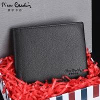 皮尔卡丹(pierre cardin)钱包男士新款短款头层牛皮钱夹欧美商务潮礼盒 JFA509291A黑色