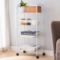 欧润哲 厨房置物架 可移动多功能厨房蔬菜水果储物收纳架 4层白色 杂物浴室整理架