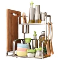 悠佳 厨房用品置物架微波炉架不锈钢落地锅架厨具调味料收纳储物架赠砧板架U-3002