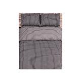 日式全棉格纹四件套 新款1.5m床:适用2mx2.3m被芯*磨毛灰色格纹(床单款)