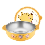 迪士尼(Disney)维尼儿童不锈钢碗 婴儿辅食碗 儿童餐具宝宝汤碗沙拉碗小碗 双耳饭碗 400ml 韩国进口