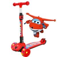 超级飞侠儿童滑板车2-6-12岁 5CM闪光宽轮 更大车身 一秒折叠  踏板车摇摆车滑滑车溜溜车代步PLUS版 乐迪红
