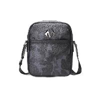 BABAMA潮牌男士单肩包个性迷彩竖款斜挎包时尚休闲男包907039101 黑色