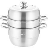 美廚(maxcook)蒸鍋 304不銹鋼30CM三層蒸鍋 加厚復底湯蒸鍋 燃氣爐電磁爐通用MCZ827