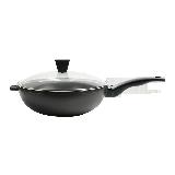 歐式精鑄不粘炒鍋30cm30cm/升級涂層/加厚玻蓋/電磁爐通用