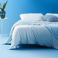 撫慰貼膚的清涼,持久冷感雙面毛巾毯藍色 雙人 180*200cm