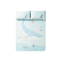 凉而不冰,儿童透气冰丝凉席3件套150x200cm(适合1.5m床)*蓝色-鲸鱼航海