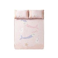 凉而不冰,儿童透气冰丝凉席3件套150x200cm(适合1.5m床)*粉色-梦幻美人鱼