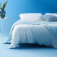 撫慰貼膚的清涼,持久冷感雙面毛巾毯藍色 大雙人 230*200cm
