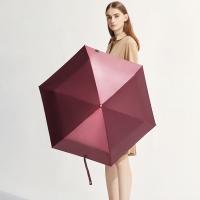 太阳伞遮阳伞蕉下胶囊丝影高定红五折伞,高定红,防晒