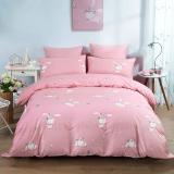 水星家纺 全棉斜纹印花卡通床上四件套 床上用品套件床单被罩 粉兔子 双人1.5米床