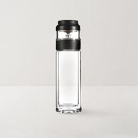 茶水与叶轻松隔离  茶水分离耐热玻璃杯黑色280ml