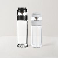 茶水与叶轻松隔离  茶水分离耐热玻璃杯黑白对杯