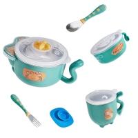 babycare儿童餐具 宝宝注水保温碗吸盘碗儿童碗勺套装 婴儿辅食碗5件套 2091猫咪款-雀湖绿