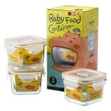 Glasslockbaby婴儿辅食盒 耐热玻璃密封保鲜储存盒冷冻 新生儿宝宝辅食碗 儿童餐具套装 方形210ml*3