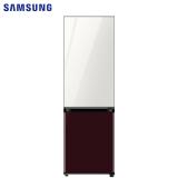 三星(SAMSUNG)333升 BESPOKE DIY自由组合冰箱 玻璃面板 风冷 智能变频 RB33R300453/SC(光晕白+勃艮第红)