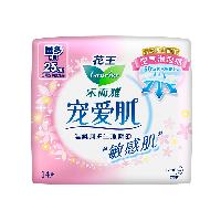 花王乐而雅(laurier)宠爱肌丝薄柔棉量多日用卫生巾25cm14片