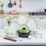 亿嘉IJARL 韩式创意家用陶瓷碗盘碟子56头餐具套装结婚乔迁送礼 青川